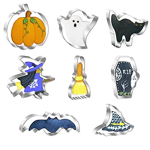 8 Stücke Halloween Ausstechformen Set, Edelstahl Keksausstecher - Kürbis, Fledermaus, Geist, Hexe, Hexenhut, Katze Sarg, Besen Förmige Metallformen für Halloween
