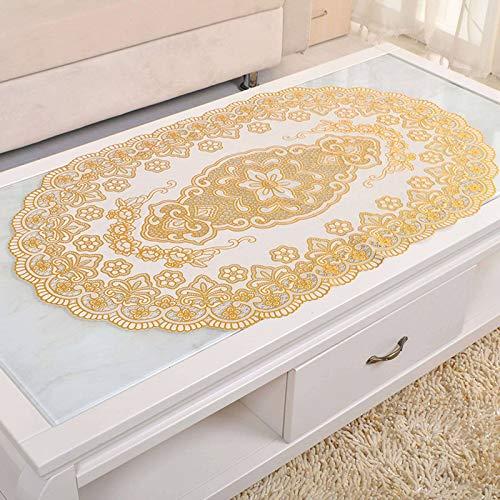 BEIGOO 24 x 39 Vinyl-Tischdecke, PVC-Tischdecke, umweltfreundlich, wasserdicht, rechteckig, schmutzabweisend, 60 x 100 cm-Golden-Filet