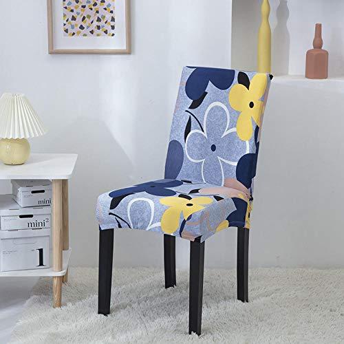 Fundas para sillas Flor Azul Spandex Fundas sillas Comedor Lavable Extraíble Funda Muy fácil de Limpiar Duradera Modern Bouquet de la Boda Hotel Decor Restaurante 6/Piezas