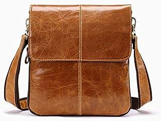 YXHM AU Men's Genuine Leather Vintage Cowhide Flip Single Shoulder Bag (Color : Brown)