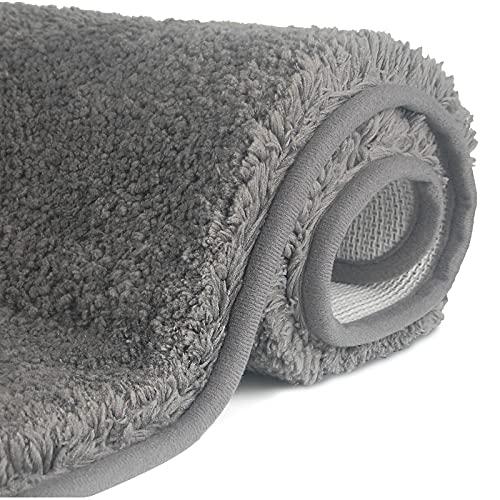 FCSDETAIL rutschfeste, Hochflor Badteppiche 60X90 cm, Maschinenwaschbare Badematte, Badvorleger mit Wasserabsorbierenden, Weichen Mikrofasern für Badewanne, Dusche und Badezimmer (Grau)