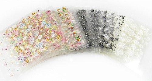 Fantastique Offre: 10 x feuilles de 3D Nail art, Embouts stickers Faux Ongles Motif Manucure Décalques Pierres précieuses Paillettes Orteil emballages, body art, téléphone portable stickers paquet various créations - par Fat-catz-copie-catz