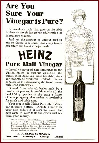 Nice Artwork in 1906 AD for Heinz Pure Malt Vinegar Original Paper Ephemera Authentic Vintage Print Magazine Ad/Article