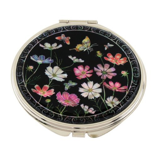 Mother of Pearl Pink White Cosmos Flower Design Double Compact Magnifying Cosmetic Makeup Purse Beauty Pocket Mirror by Antique Alive
