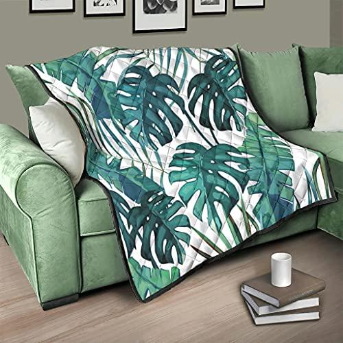 Flowerhome Colcha de palmeras tropicales y hojas, para cama o sofá, para dormir, para adultos y niños, color blanco, 150 x 200 cm