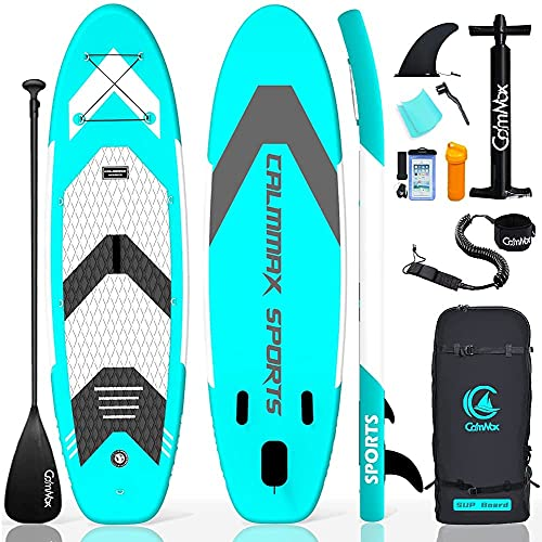 CalmMax Inflatable Stand Up Paddle Board 10'6'×32'×6' SUP Package with Non-Slip Deck, Pump, Paddle, Leash, Waterproof Backpack for Youth & Adult