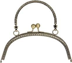HEALLILY Marco de monedero de metal retro bolso de mano cierre de cerradura monedero para accesorios de costura artesanales de bricolaje 16.5cm