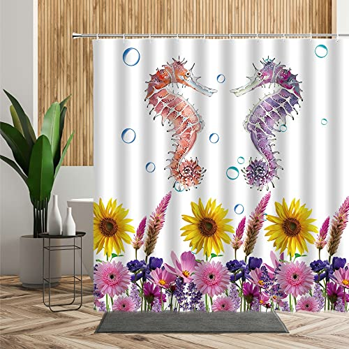 DYJHS Cortina de la duchaCortina de baño Infantil, Tela con diseño de Animales Marinos, para baño, Tortuga, Pulpo, pez, Estrella de mar, Caballo, Tela, decoración baño