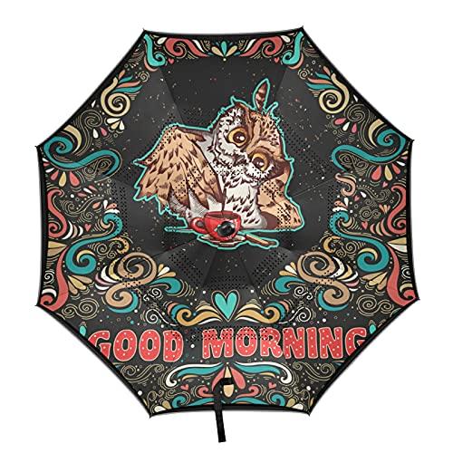 Isaoa Regenschirm mit niedlicher Eule und Kaffeetasse, umgekehrter Golfschirm, automatisches Öffnen, winddicht, wasserdicht, groß, faltbar, mit Tragetasche
