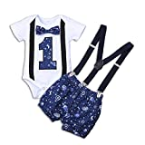 Didida Baby Romper Set, Infant Boys One-Year-Old Birthday Suit Short Sleeve Letter Cartoon Print...