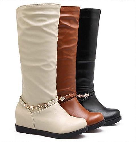 Fuxitoggo Fuxitoggo Bottes pour Les Les dames - Bottes Chaudes pour Les Les dames, Tubes Chauds Bottes de Chevalier Bottes de Tenue décontractée Grande Taille Chaussures pour Femmes 36-43 (Couleuré   Blanc, Taille   39)  magasin en ligne