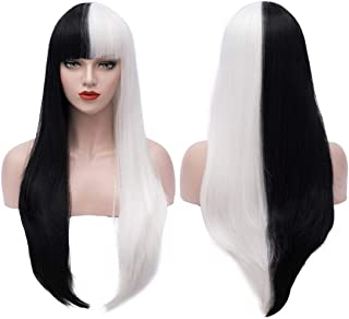 Bopocoko 32 Inch Extra Long Wig Black White Cosplay Costume Wigs for Women Halloween Costumes Wigs with Wig Cap BU229