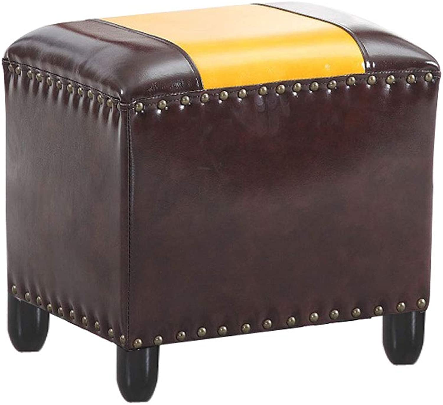 Solid Wood Small Bench Living Room Coffee Table Sofa Stool Fitting Room Waterproof Leather Stool Square Stool (Size   30cm)