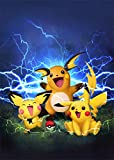 Pichu, Pikachu and Raichu.Pokemon Wall Art Home Wall Decorations for Bedroom Living Room Oil Paintings Canvas Prints-1449 (Framed,12x18inch)