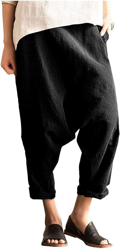 SCOFEEL Women's Linen Harem Long New color Drop Culotte Drape Crotch Pants Fort Worth Mall