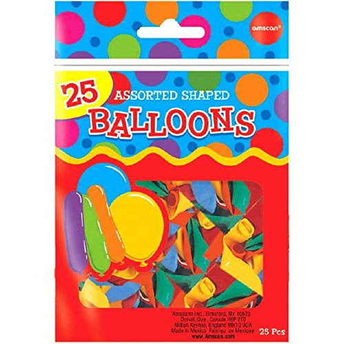 Assorted Shapes Latex Balloons   Pack of 25   Party Decor