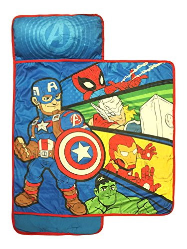 Marvel Super Hero Adventures Avengers Nap Mat - Built-in Pillow and Blanket Featuring Captain America - Super Soft Microfiber Kids'/Toddler/Children's Bedding, Age 3-5 (Official Marvel Product)