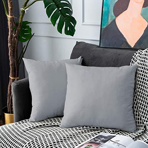 UPOPO Juego de 2 fundas de cojín de terciopelo, decorativas de un solo color, para sofá, dormitorio, salón, con cremallera, 50 x 50 cm, color gris claro