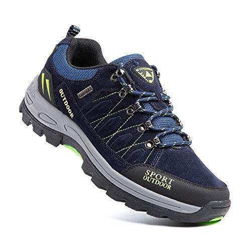 Zapatillas Trekking Hombre Antideslizantes Zapatos de Senderismo Transpirable Botas Montaña Bajas al Aire Libre 1 Azul Talla 44 EU