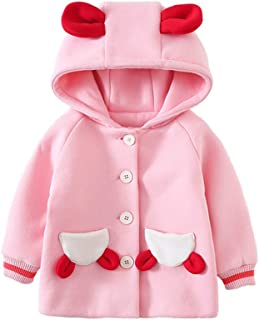 Xifamniy Infant Girls Long Sleeve Pink Coat Cherry Embroidery Cute Shape Hooded Jacket