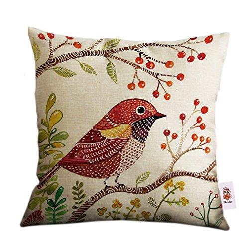 Nunubee taie d'oreiller couvre-lit en coton et lin, motif arbre d'oiseau, Coton/lin, Tree Bird 8, 45cm*45cm/18\