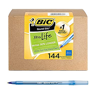 BIC Round Stic Xtra Life Ballpoint Pen, Medium Point (1.0mm), Blue, 144-Count, Great for Everyday Writing