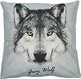 Puccybell Kissenbezug, Kissenhülle mit Tiermotiv Digitaldruck Wolf für Kissen 45 x 45 cm KB001 (Wolf)