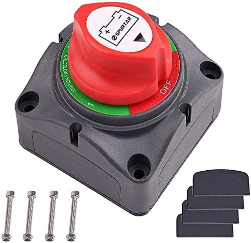 Spurtar Interrupteur rotatif de coupure de batterie Coupure marche Commutateur de Batterie 12V 24V pour Bateau Camion Voiture Tracteur Bus Yacht, 300A 1000A(1–2-ON-OFF)