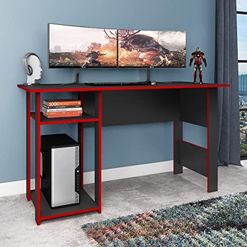 Mesa para Computador Gamer 136cm Fellicci Móveis Suporte CPU Vermelha/Grafite