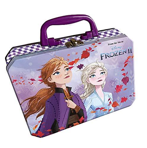Frozen Maletín Metálico De Maquillaje Infantil Frozen II (Contiene: 2 Brillos de Labios, 1 Bálsamo Labial, 1 Esmalte de Uñas, 1 Espejo y Un Llavero)
