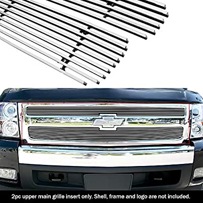 APS Compatible with 2007-2013 Chevy Silverado 1500 Main Upper Aluminum Chrome Horizontal Billet Grille Insert C65766A
