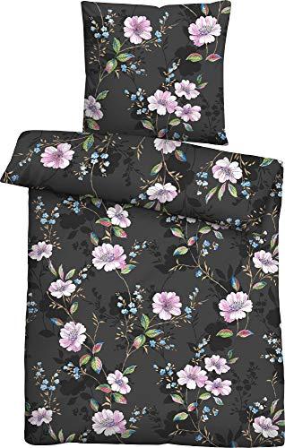 biberna 0024408 Soft-Seersucker Bettwäsche Garnitur mit Kopfkissenbezug (Baumwolle) 1x 135x200 cm + 1x 80x80 cm, anthrazit