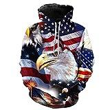 Unisex 3D Bald eagle USA Nation Flag Printed Long sleeve Hoodies Hooded Sweatshirt Hoody XL