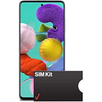 Samsung Galaxy A51 Factory Unlocked Cell Phone | 128GB of Storage | Long Lasting Battery | Single SIM | GSM or CDMA Compatible | US Version | White with Verizon SIM Kit for eGift Card