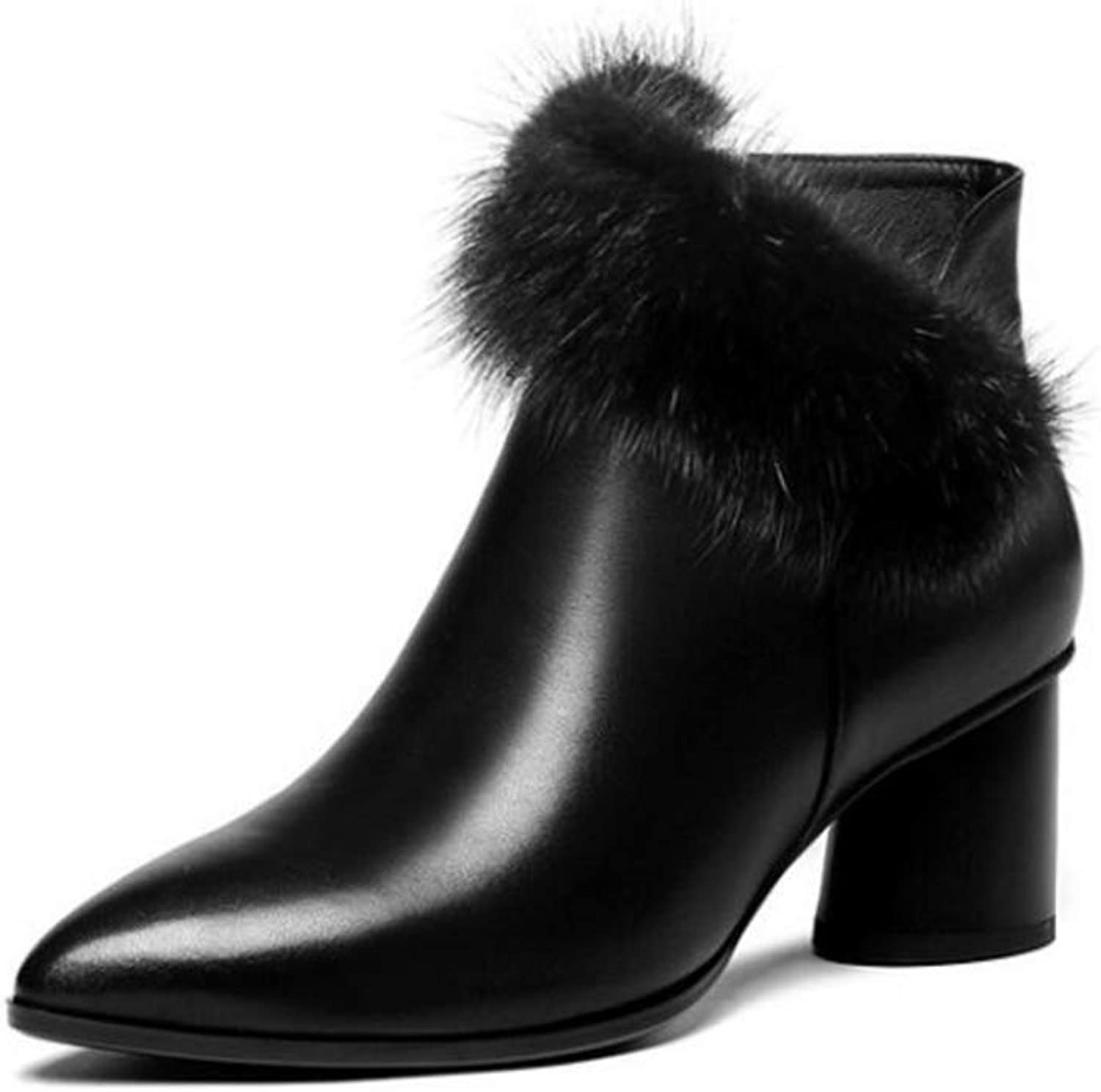 Women's Winter shoes, Leather High-Heeled Ankle Boots Pointed Womens Boots Thick with Velvet Fashion Ladies shoes Martin Boots (color   Black, Size   35)