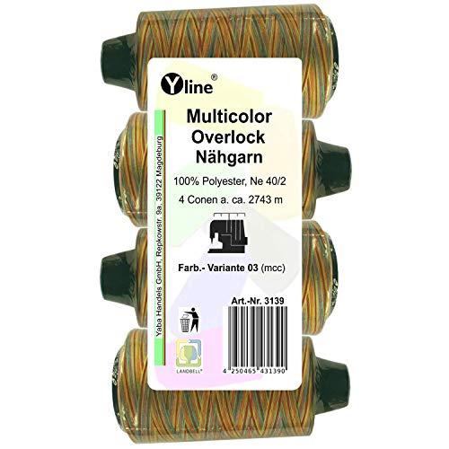 4 bobinas multicolor Overlock, variante 03, 2743 m, NE 40/2, 100% poliéster, hilo para máquina de coser, 3139