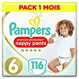 Couches Culottes Pampers Taille 6 (+15 kg) - Premium Protection Nappy Pants, 116 culottes, Pack 1 Mois