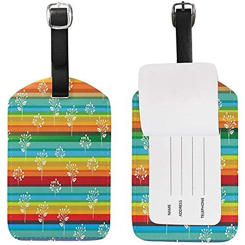 Hipster Regenbogen Farbe Streifen Pflanze Muster Gepäckanhänger für Gepäck Koffer Tasche Travel Label Leder 2 Stück