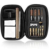 Jsdiwe Universal Pistol Cleaning Kit (17 Pcs) for .357 .38, 9mm .22 .40 .45 Caliber Handgun, Zippered Tool Case with Brass Brush, Jag, Slotted Tip, Gun Cleaning Pick, Rod and Patches -Black