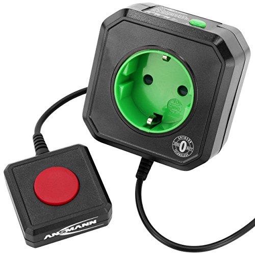 Ansmann 5024083 - Enchufe de ahorro energético para PC (AES3 Zero Watt, con desconexión automática de la red), color negro y verde