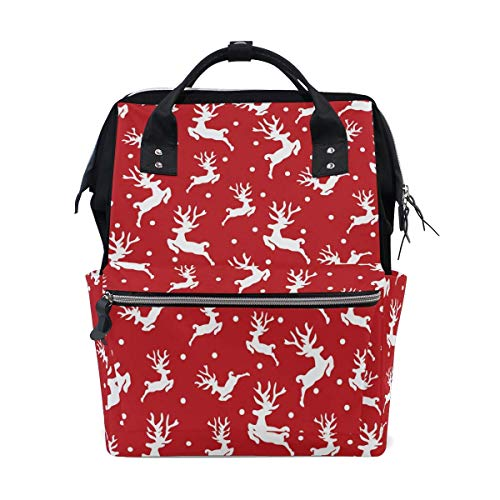 Mochila blanca con diseño de reno y alce de Navidad, color rojo, gran capacidad, mochila de viaje