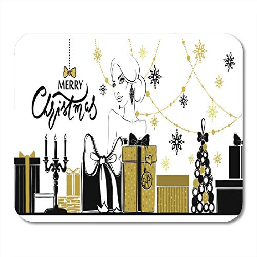 Mouse Pads Merry Christmas and Happy New Year Xmas Girl Boxes Mouse Pad for notebooks, Desktop Computers mats Office Supplies