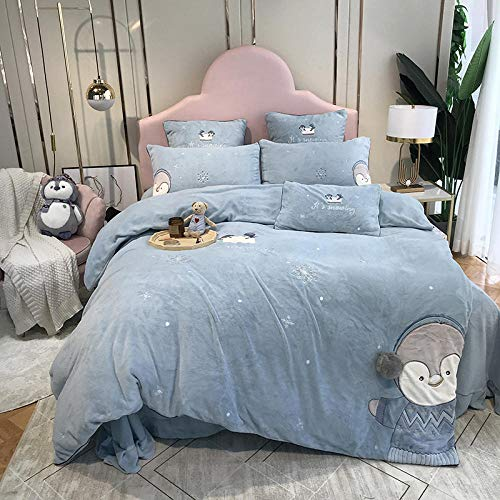 Juegos de Fundas nordicas para Cama 150-Franela gruesa de dibujos animados más ropa de cama de plumón cama individual funda nórdica tamaño king funda de almohada regalo-S.S_Cama de 1,2 m (3 piezas)