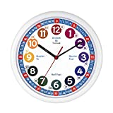 Tinload Telling Time Teaching Clock, 10 inch Silent Movement Analog Learning Clock for Kids, Perfect Room & Wall Decor for Classrooms, Playrooms and Kids Bedrooms (White/Blue)
