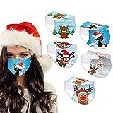 BekeLIN 50 Stück Einwegmaske Adult Einweg Mundschutz 3-lagig Gesicht Bandanas Christmas Weihnachts Druck Für Frauen Männer Staubdicht Atmungsaktiv Schals (50PC#11)