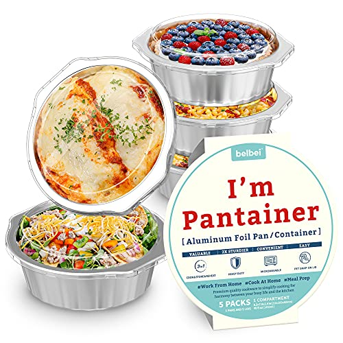 """8"""" Sturdy Foil Pans with Snap-On Lids (5 Pack)   3X Thicker Heavy Duty Reusable Foil Tins   Microwavable Multi-Use Pan, Pot, Container   Round Deep Disposable Aluminum Foil Pans for Baking, Cooking"""