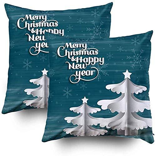 Tedtte Cubiertas Cusion Paquete de 2 Funda de Almohada de poliéster Árbol de Navidad Árbol de Navidad Simple Hecho de Papel Origami Árbol de Navidad Origami Gr