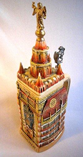 aufwendiger 3d Relief Jarra de cerveza–Ayuntamiento De Múnich German Beer piedra, Beer Mug–porcelanato, pintado a mano con tapa de estaño 97% Edición Limitada