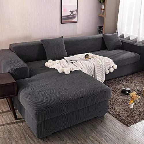 Funda elástica para sofá Chaise Longue, Funda para Sofa en Forma L, Funda Chaise Longue Derecho/Izquierdo (un sofá esquinero en L Requiere 2) (Color : C, Size : 4 plazas (235-300cm))