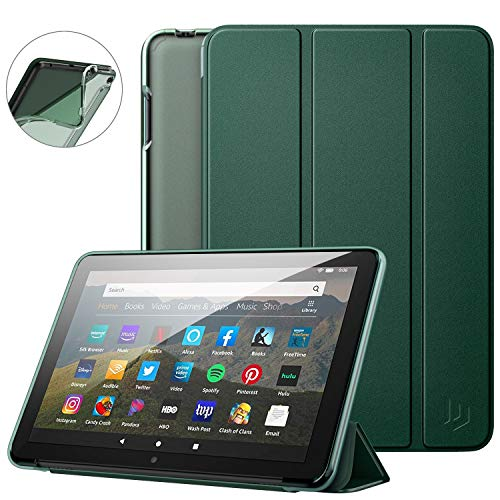 Dadanism All-New Kindle Fire HD 8 Tablet Case and Fire HD 8 Plus Cover(10th Generation 2020 Release), [Flexible TPU Translucent Back Shell] Ultra Slim Lightweight with Auto Sleep/Wake - Night Green